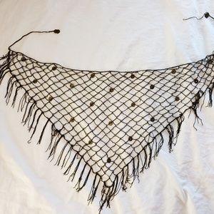 Womens Waist Tie Brown Hip Wrap Crochet Metal Coin